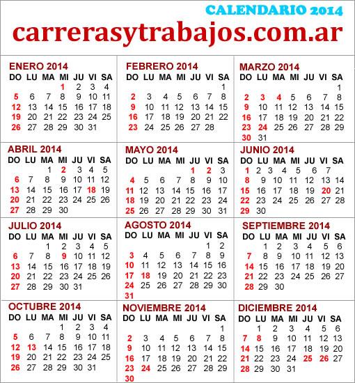 FERIADOS 2014 EN ARGENTINA, CALENDARIO, ALMANAQUE 2014