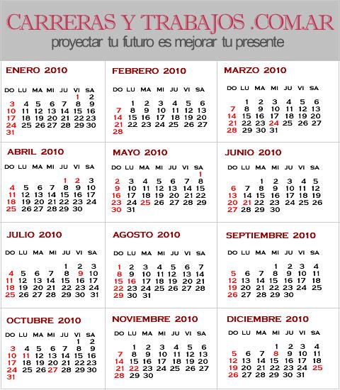 ... ARGENTINA. CALENDARIO 2010 - CALENDARIO GRATIS 2010 - ALMANAQUE 2010